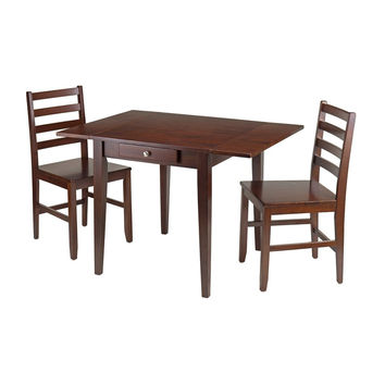 Hamilton 3 Piece Drop Leaf Dining Table with 2 Ladder Back Chairs