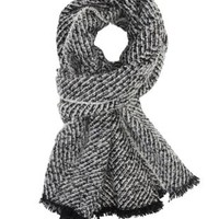 Black Combo Marled Sweater Knit Blanket Scarf by Charlotte Russe