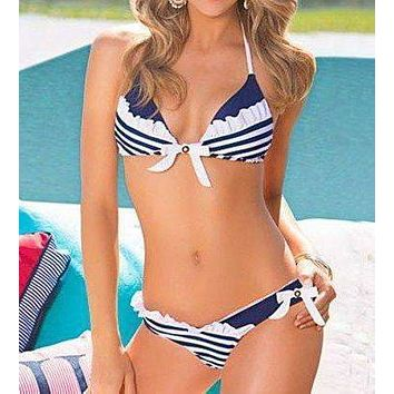 Stripe Swimsuits lowrise Bikini Ladies Swimwear