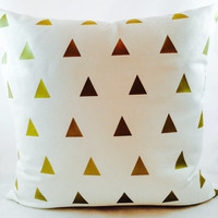 Metallic Gold triangles on white linen pillow cover for minimalist home decor