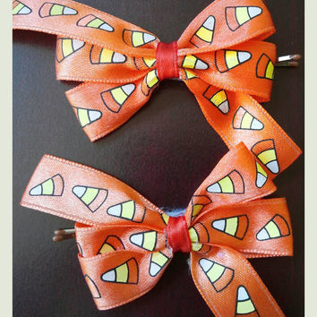 Boutique candy corn Halloween hair bow clips baby toddler children girl bows