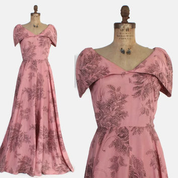 Vintage 40s Evening GOWN / 1940s Pink FERN Print Full Length Formal Dress M