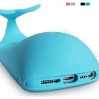 FocusTM Light Blue-New 3D Rubber Matte Whales Case Cover Support For iPhone 5 Screen Guard
