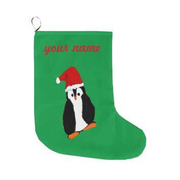 Cute Christmas Penguin in Santa Hat Personalized Large Christmas Stocking