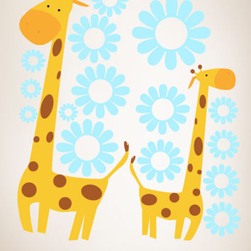 Graphic Wall Vinyl Decal Sticker Giraffe with Flowers #MM112