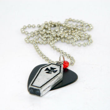 Goth Guitar Pick Necklace Coffin on Black Fender With Red Swavorski