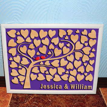 Wedding Guest Book Alternative 3D Personalised Wooden Guest Book Custom Wedding Guestbook Rustic Tree Wedding Guest Book