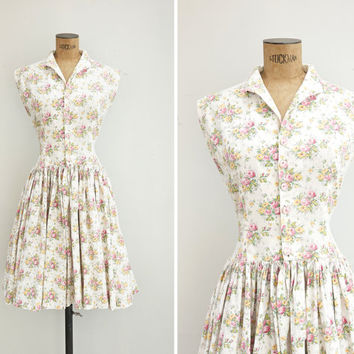1950s Dress - Vintage 50s White Cotton Floral Dress - Le Bouquet Dress