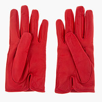 Valentino Red Studded Leather Moto Gloves for women | SSENSE