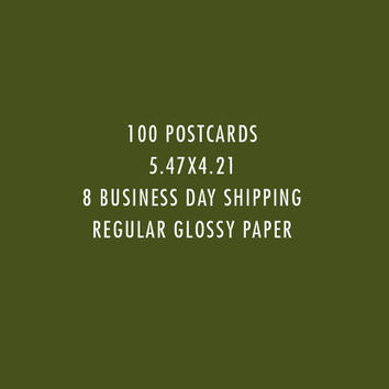 100 Postcard Printing (130lb Glossy Stock) Including Shipping