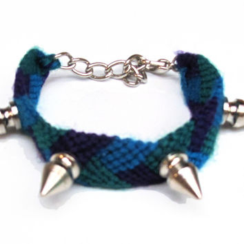 Spiked Friendship Bracelet - Blue, Purple, Green