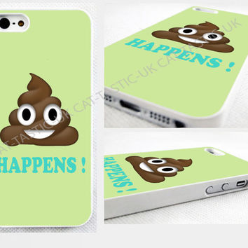 Poop happens, Emoji iPhone 4s,5C,5S,6,6 plus,samsung galaxy glossy cover Case