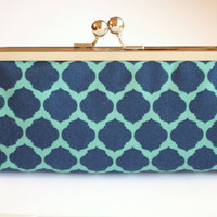 Navy and Seafoam Mint Moroccan Clutch - Kisslock Frame Clutch Print Canvas Fabric
