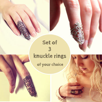 Set of 3 knuckle rings of your choice! - Free Shipping - Made to order :)
