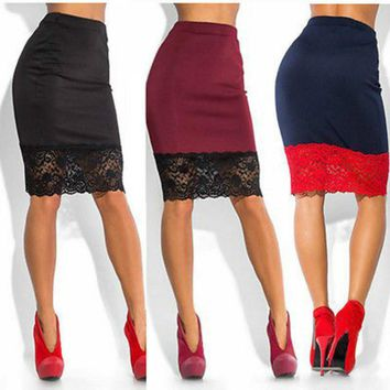 Sexy Women Formal Stretch High Waist Short Lace Mini Skirt Pencil  Red Black pencil skirt midi leather women bodycon  30