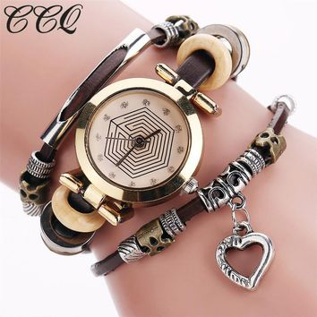 Fashion Vintage Leather Bracelet Watches Women Casual