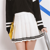 Drop ship high waist ball pleated skirts Harajuku Mori girls stripe a-line sailor skirt Cosplay Japanese school uniform