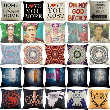 Cushion Cover Game of Thrones Flag Frida Kahlo Geometric Letter Affection Cotton Linen Sofa Chair Home Decorative Throw Pillow