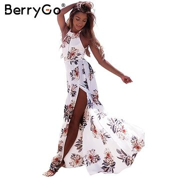 Berrygo Floral Print Halter Chiffon Long Summer Dress Women Backless 2017