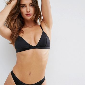 ASOS Basic Microfibre Triangle Bra & Brazilian/ Thong Lingerie Set at asos.com