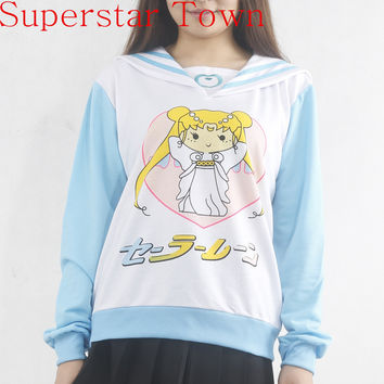 Japanese Kawaii Clothes Anime Women Hoodies Harajuku Sweatshirt Cute Hoodies Women Sailor Moon Shirt Poleras De Mujer