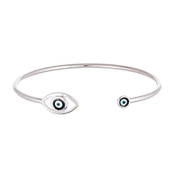 Real 925 Sterling Silver Evil Eye with Mini Eye Cuff Bracelet (sterling-silver)