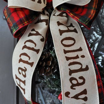 Christmas Wreath- Holiday Wreath, Front Door Decor, Happy Holidays, Holly Wreath