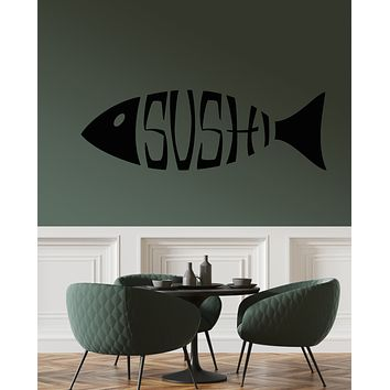 Vinyl Wall Decal Sushi Logo Restaurant Japanese Cuisine Stickers (3364ig)