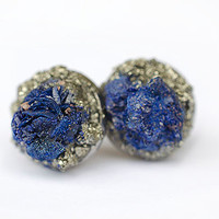 Raw Azurite and Pyrite earrings with surgical steel post studs Earrings meditation mind centers