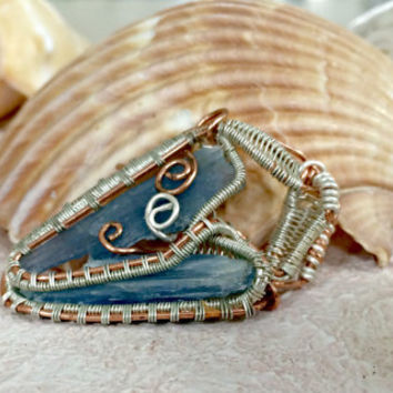 Beautiful Double Kyanite Wire Wrapped Pendant!