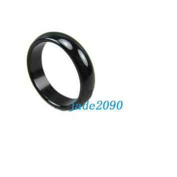 Free Shipping -  custom size ( US size 5- 12 )  AAA Grade  good luck Natural black jade Round charm Ring - jade2090
