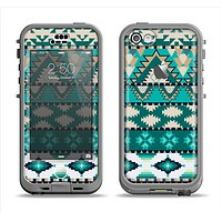 The Vector Teal & Green Aztec Pattern  Apple iPhone 5c LifeProof Nuud Case Skin Set