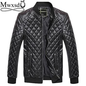 Mwxsd brand men argyle plaid Leather Jacket winter men's casual soft PU faux leather Jacket Male Motorcycle zipper Jacket