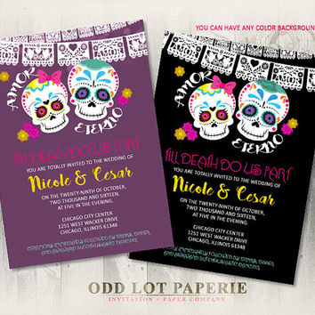 Sugar Skull Wedding Invitation Halloween Wedding Day of the Dead Dia de los Muertos Till Death Do Us Part DIY Printable Wedding Invite