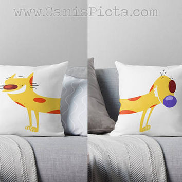 CatDog Throw Pillow 16x16 Decorative Cushion Cover Pop Culture Television Show Gift Him Fun Cartoon Orange Cat Dog Push Me Pull Minimalist
