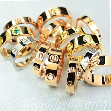 """""""Cartier"""" Simple Women Men Personality Diamond Ring Lovers Lovely Rings Rhinestone Ring I"""
