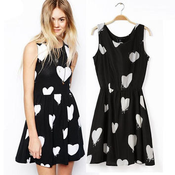 Heart Dot Love Print High Waist Sleeveless Pleated A-Line Mini Dress