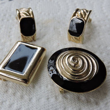 Vintage  Ernst Gideon Bek Black Enamel Clip On Earrings and Two Black Enamel Brooches Marked with a Butterfly