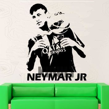 Soccer Star Neymar Wall Stickers Vinyl Wall Decals Home Interior Bedroom Den Fan Club Backdrop Decorative Painting