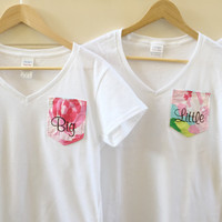 V-NECK MATCHING Lilly Pulitzer Big & Little Nautical Pocket Tees for Sorority