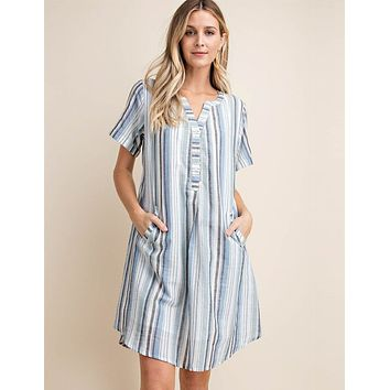 Serene Stripe Shirt Dress