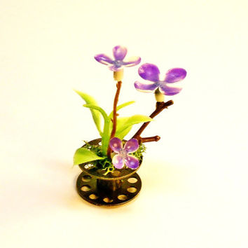 Upcycled Metal Bobbin Miniature Purple Flowers Very Unique Fairy Garden Plant