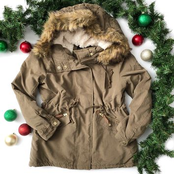 Olive Coat with Fur Lined Hood