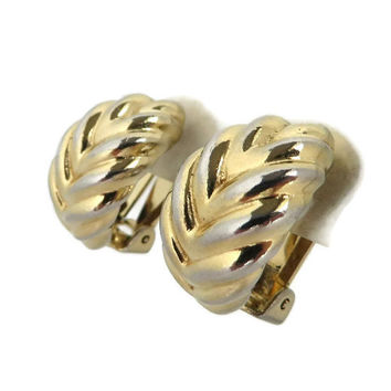 Christian Dior Earrings, Vintage Two Tone Leaf Clip-on Earrings