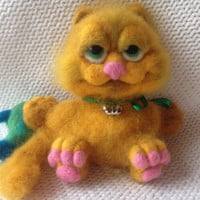 Cat Garfield Needle felted cat Art Collectibles Art Dolls Gifts for her Girlfriend birthday Felt Animals nursery decor gift Felted wool cat