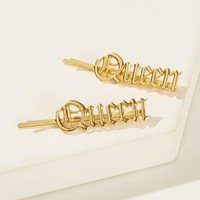 Letter Decor Hairpin 1pair