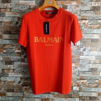 """Balmain"" Unisex Simple Casual Bronzing Letter Cotton T-shirt Couple Short Sleeve Loose Top Tee"