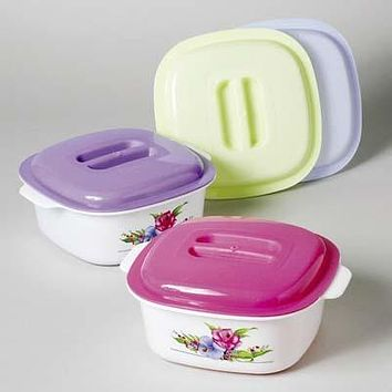 Food Storage Container - Floral Design with Dome Lid - 48 Units