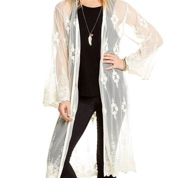 Sheer Lace Duster Cardigan