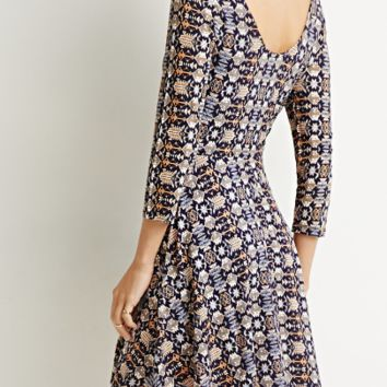 3/4 Sleeve Print Back V Neck Dress